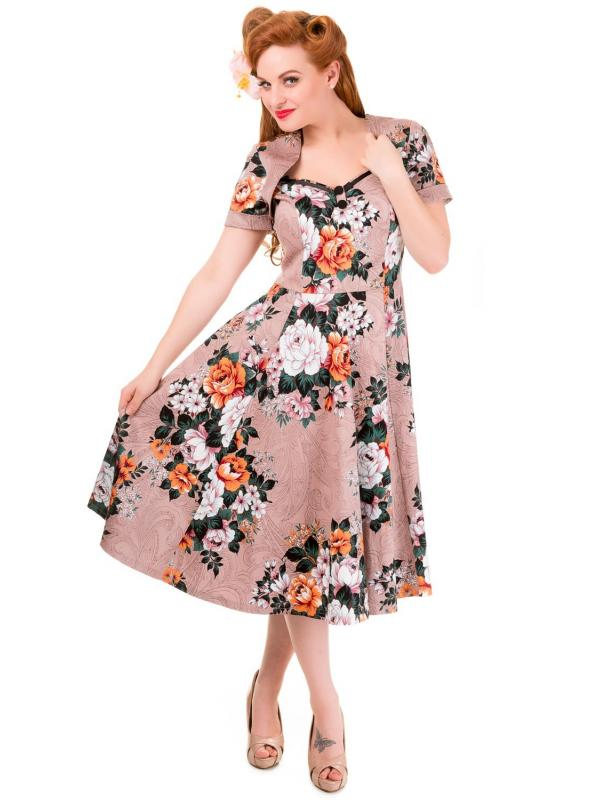 Vintage Style Floral Print Short Sleeve Party Dress