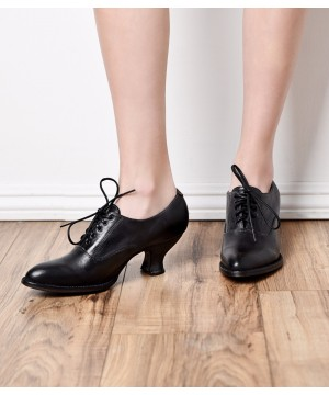 Victorian Style Leather Lace-Up Black Shoes by Oak Tree Farms