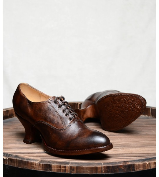 Victorian Style Leather Lace-Up Shoes in Teak Rustic by Oak Tree Farms