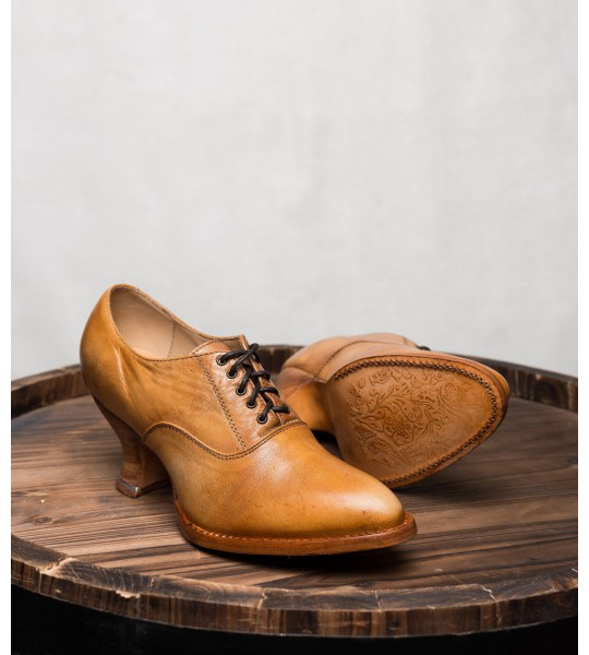 Victorian Style Leather Lace-Up Shoes in Natural Rustic by Oak Tree Farms