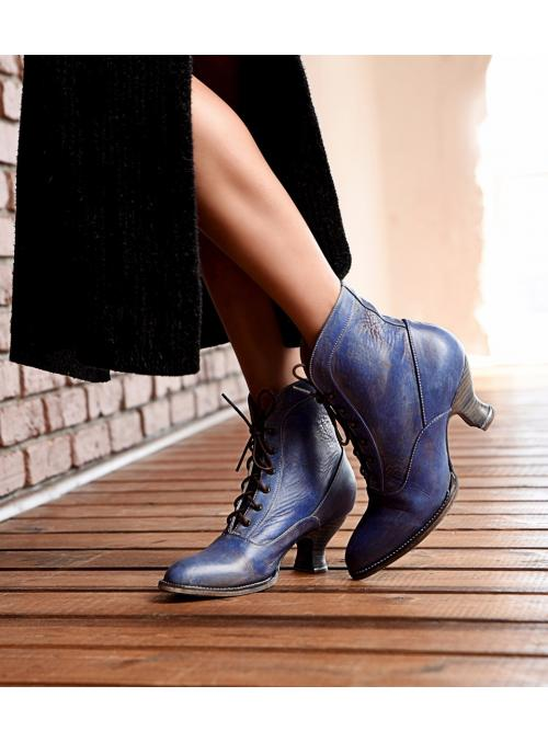 Vintage Style Victorian Lace Up Leather Boots in Steel Blue by Oak Tree Farms