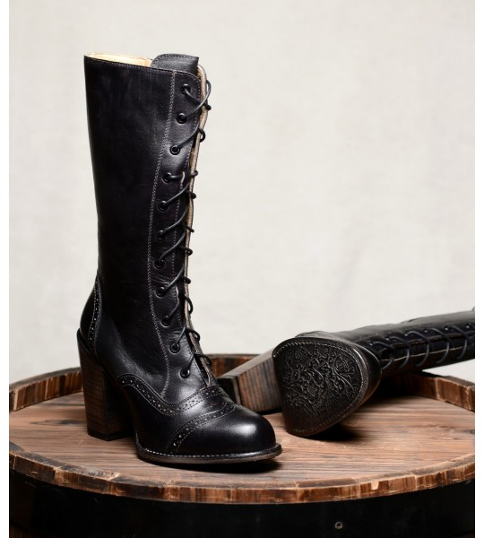 Victorian Inspired Mid-Calf Leather Boots in Black Rustic by Oak Tree Farms