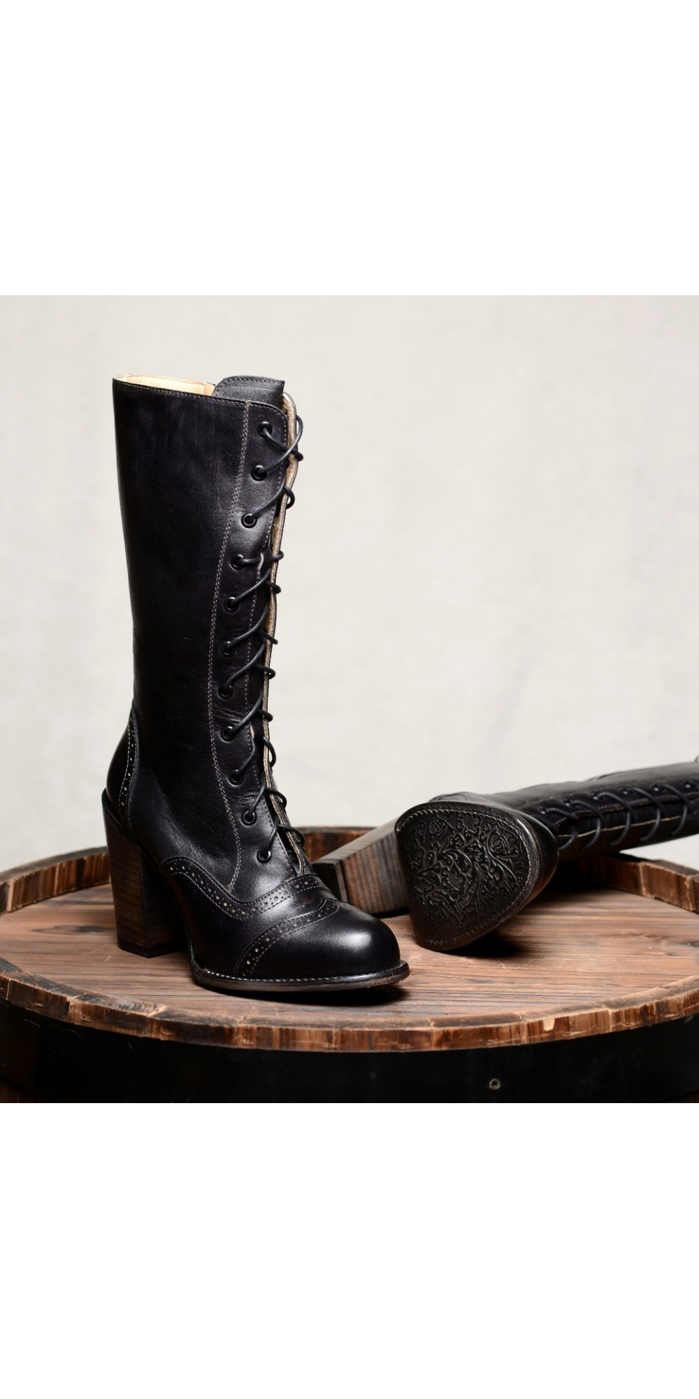 Ariana Victorian Inspired Mid Calf Leather Boots In Black