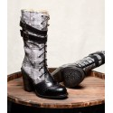 Steampunk Style Mid-Calf Leather Black Boots
