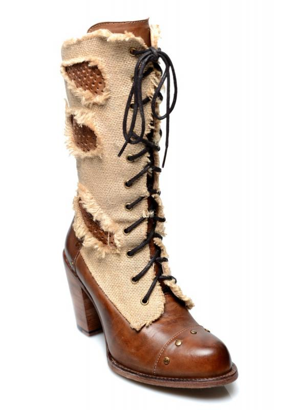 Modern Vintage Style Mid-Calf Leather Boots in Tan Rustic by Oak Tree Farms