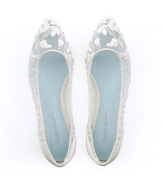 1950s Style Shoes | Heels, Flats, Saddle Shoes Allegra Vintage Inspired Bridal Flats - SOLD OUT $305.00 AT vintagedancer.com