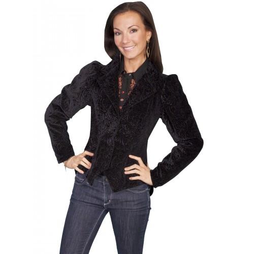 Western Style Embossed Velvet Coat in Black