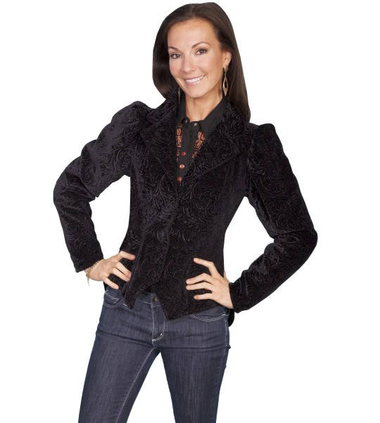 Western Style Embossed Velvet Coat in Black by Scully Leather
