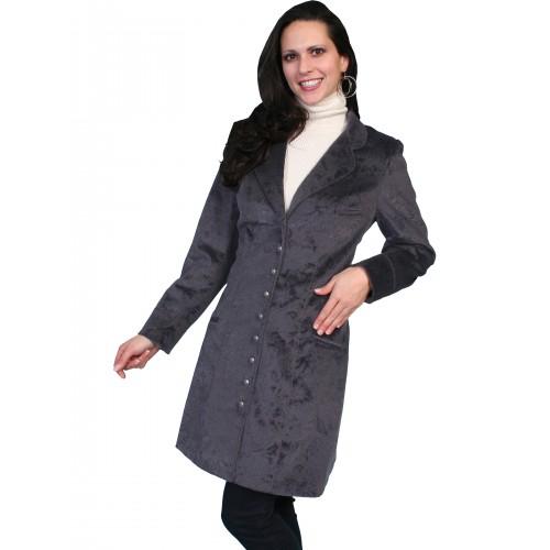 Western Style Velvet Embossed Frock Coat in Plum