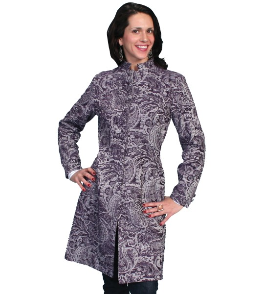 Western Style Tapestry Coat in Plum by Scully Leather