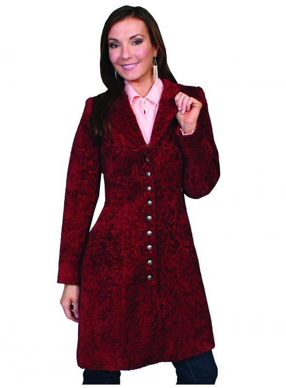 Western Style Chenille Frock Coat in Wine by Scully Leather