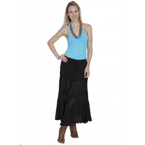 Western Style Full Length Embroidered Skirt in Black