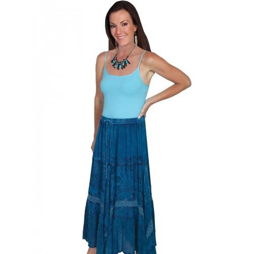 Western Style Full Length Embroidered Skirt in Denim