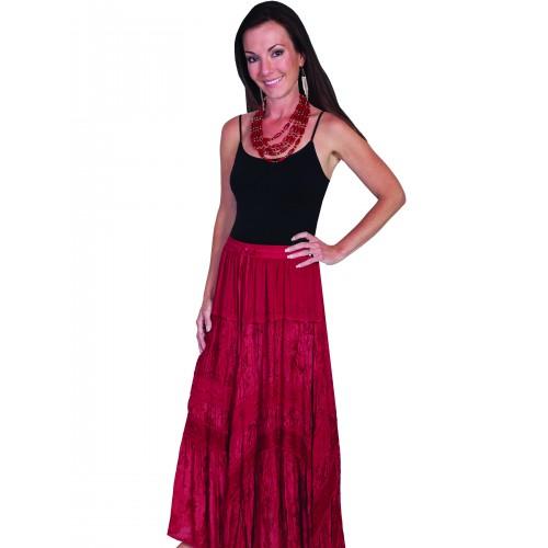 Western Style Full Length Embroidered Skirt in Burgundy