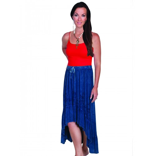 Western Style High-Low Embroidered Skirt in Denim