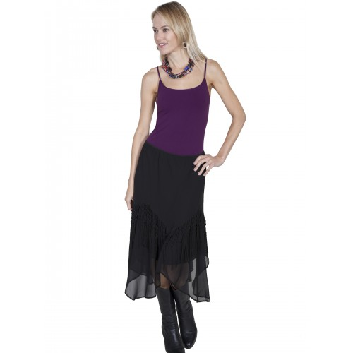 Western Style Flared Skirt in Black