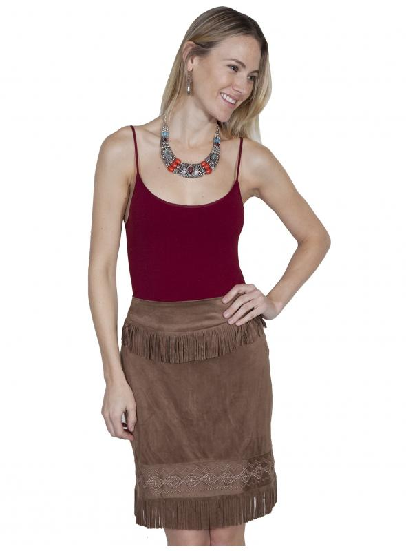 Western Style Short Fringe Skirt in Chocolate by Scully Leather