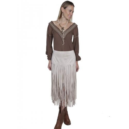 Western Style Long Fringe Skirt in Ivory