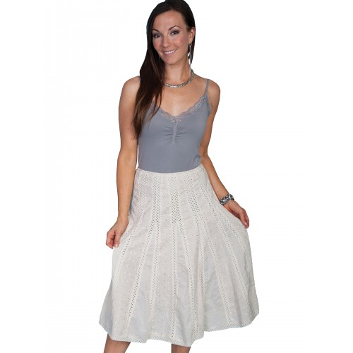 Western Style Crochet Skirt in Ivory