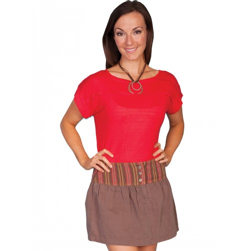 Western Style Twill Skirt in Brown