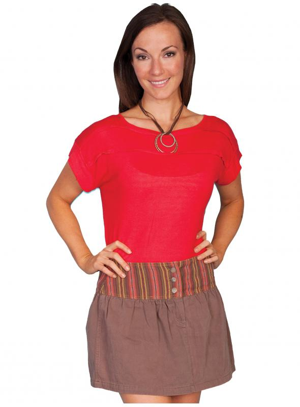 Western Style Twill Skirt in Brown by Scully Leather