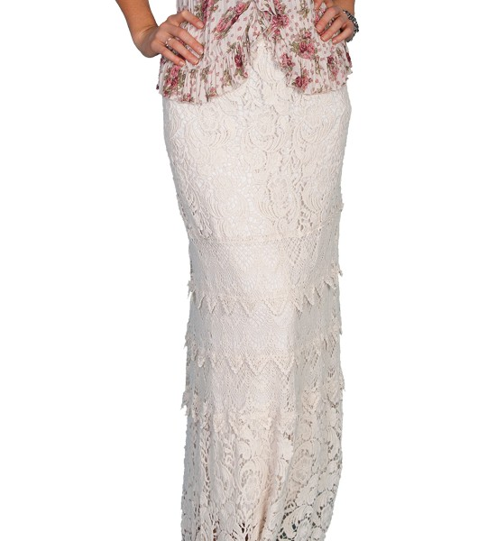 Western Style Long Crochet Skirt in Natural by Scully Leather
