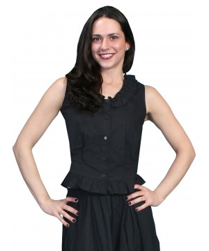 Western Style Ruffled Camisole in Black by Scully Leather