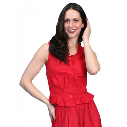 Western Style Ruffled Camisole in Red