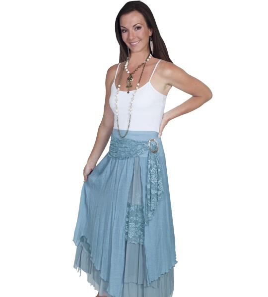 Western Style Multi-Layered Skirt in Blue by Scully Leather