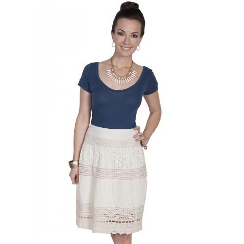 Western Style Mult-Panel Short Skirt in Ivory