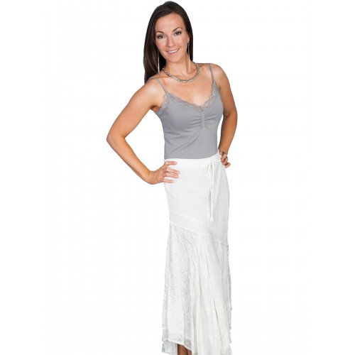 Western Style Multi-Fabric Skirt in Ivory