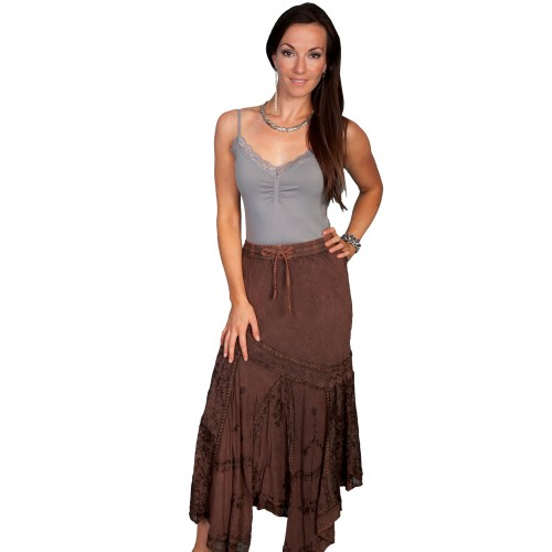 Western Style Multi-Fabric Skirt in Copper
