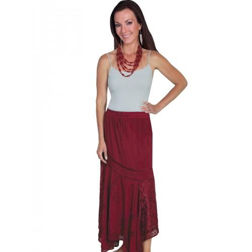 Western Style Multi-Fabric Skirt in Burgundy