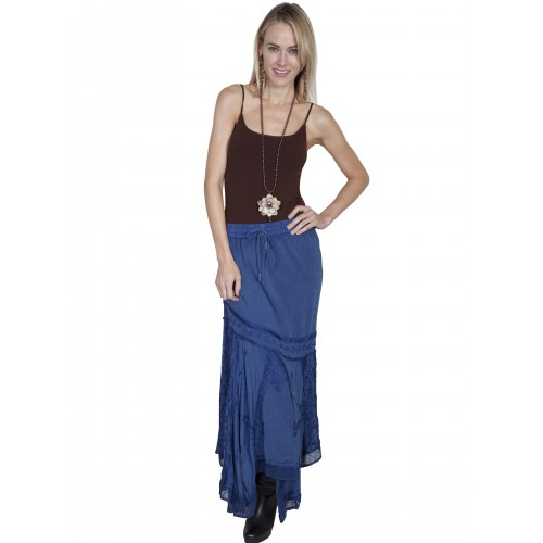 Western Style Multi-Fabric Skirt in Blue