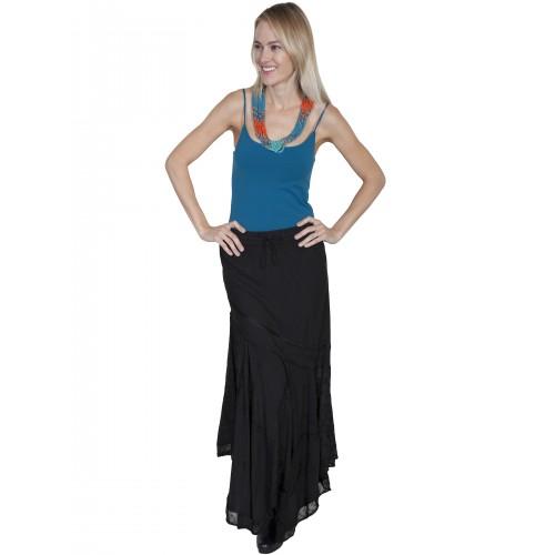 Western Style Multi-Fabric Skirt in Black