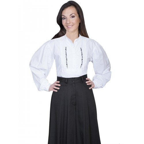 Victorian Style Embroidered Shirt in White