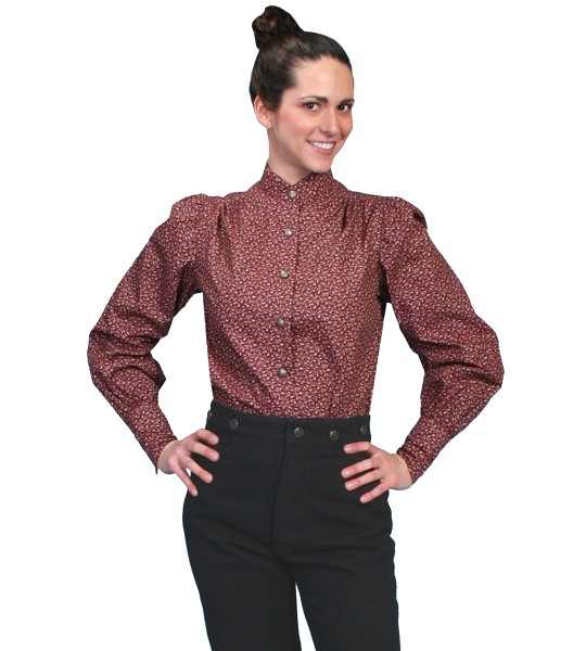 Rangewear Ranch Style Floral Blouse in Burgundy by Scully Leather