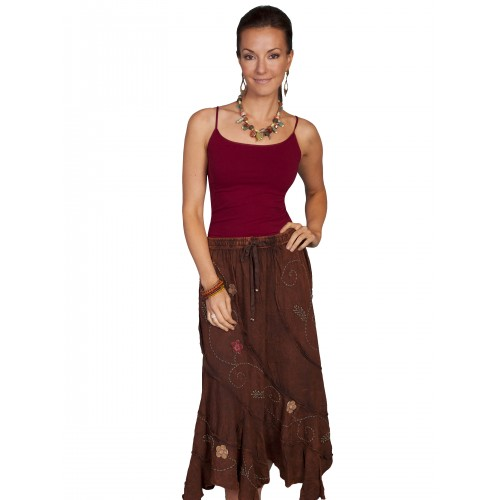 Bohemian Floral Embroidery Maxi Skirt in Brown