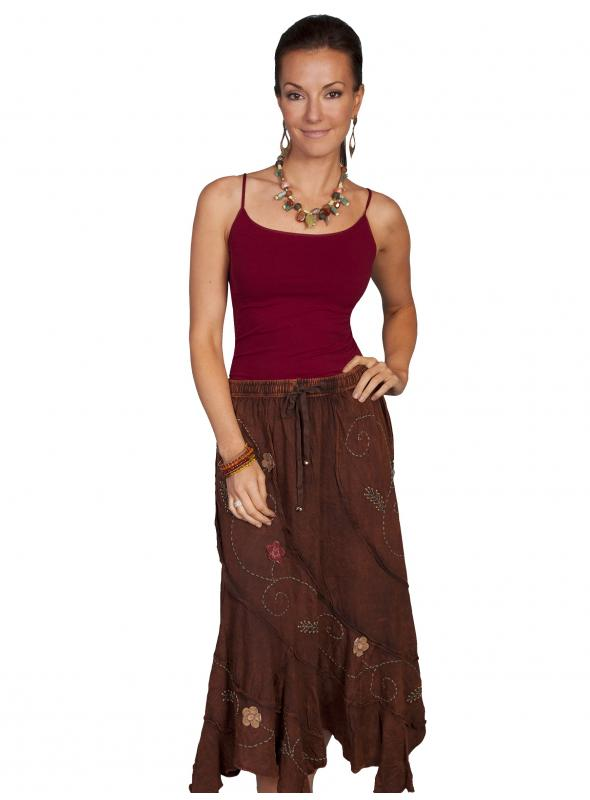 Bohemian Floral Embroidery Maxi Skirt in Brown by Scully Leather