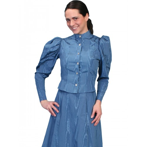 Victorian Style Puff Sleeves Blouse in Blue