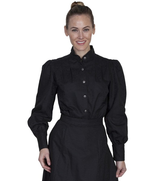 Wahmaker Victorian Style Band Collar Black Blouse by Scully Leather