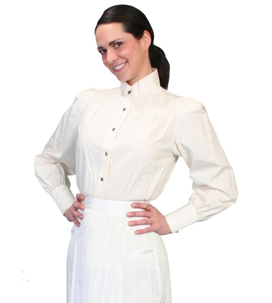 Wahmaker Classic Victorian Style Blouse in Ivory by Scully Leather