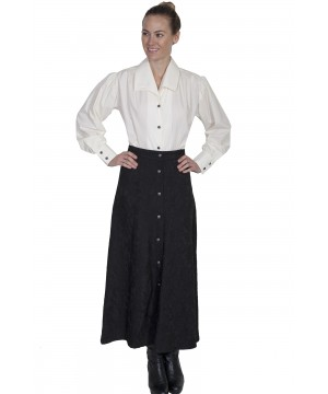 Wahmaker Vintage Style Button Front Skirt in Black by Scully Leather