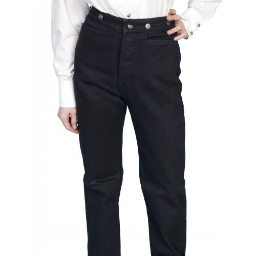 Victorian Style Canvas Pants in Black