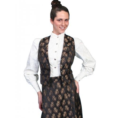 Victorian Style Jacquard Vest in Black