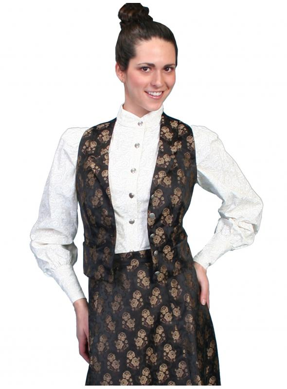Wahmaker Victorian Style Jacquard Vest in Black by Scully Leather