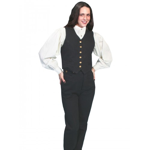 Victorian Style Canvas Vest in Black