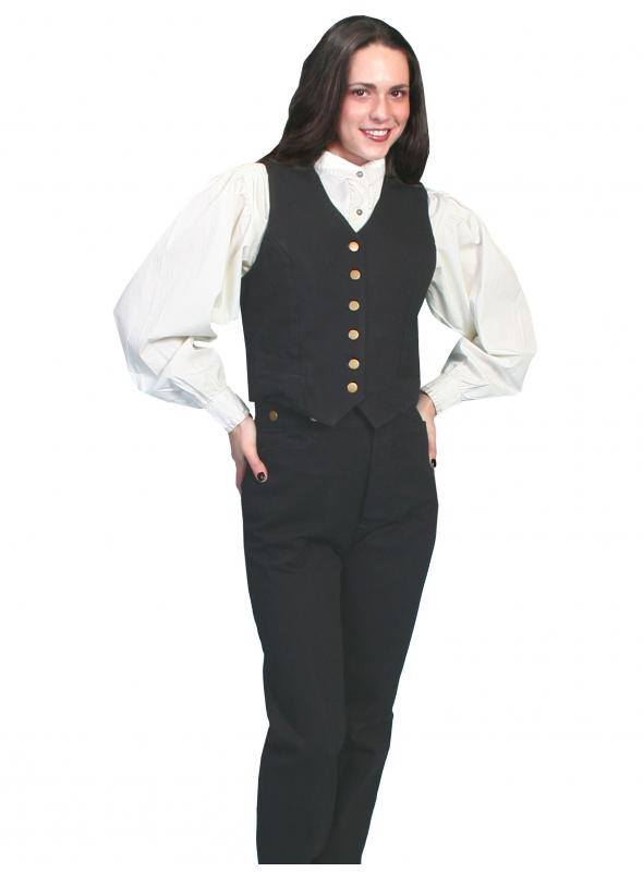 Rangewear Victorian Style Canvas Vest in Black by Scully Leather