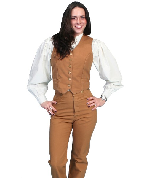 Rangewear Victorian Style Canvas Vest in Tan by Scully Leather