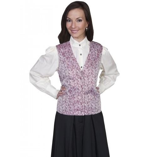 Victorian Style Rose Vine Vest in Rose